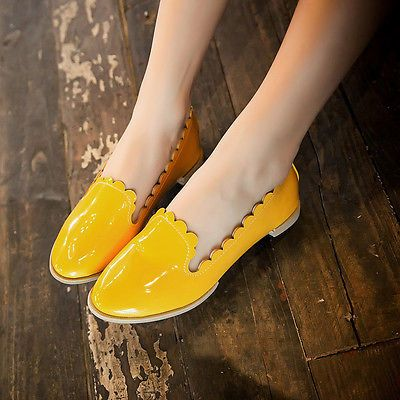 Womens-Faux-Patent-Leather-Causal-Office-Shoes-Slip-On-Flats-Shoes-Loafers-Size