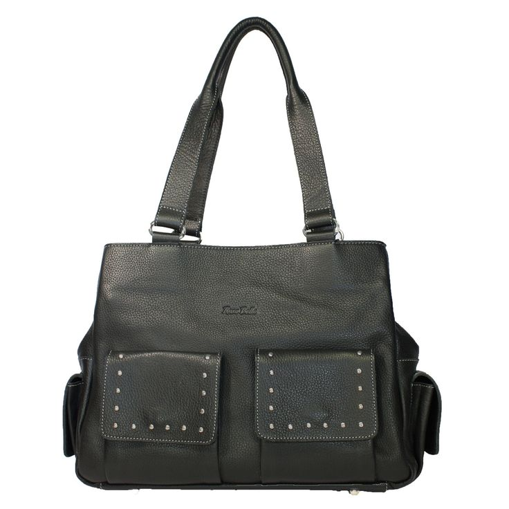 Ladies Soft Genuine COW Leather Black Stud BAG Handbag Purse Genoa | eBay