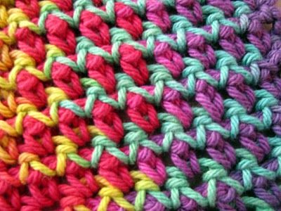 "Similar to zig-zag pip stitch. How-to: Ch 32 loosely. Row 1 (RS): Sc in 4th ch from hook, * ch 1, skip next ch, sc in next ch; rep from * across; turn. Row 2: * Ch 3, sc in sp; rep from * across; turn. Row 3: Ch 3, sc in sp, * ch 1, sc in sp; rep from * across; turn. Rep Rows 2 & 3 until 8 3/4"" from beginning, end Row 3. Fasten off. From Coats & Clark >> www.coatsandclark... #crochet #stitch #dishcloth: Crochet Dishcloth Patterns, Free Crochet, Business Hands, Crochet Stitches, Crochet Dishcloths, Free Patterns, Crochet Patterns, Response Adult, Pip Stitches"