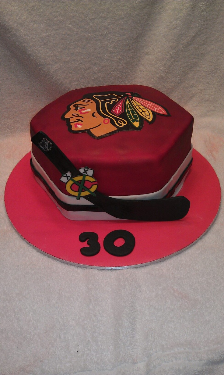 Blackhawks Cake - hopefully when we celebrate another Stanley Cup win tonight!