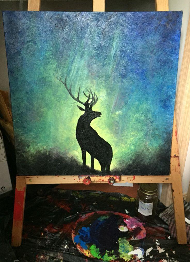 Having fun painting today   www.blis5.com  #blis5 #bliss #art #painting #creative #oilpainting #stag #deer #buck #wildlife #canadianart #artgallery #shellcaveart #artgallery #etsyart #artist #artforsale #wherebeautyandnaturecometogether #artistsoninstagram #paintingoftheday #northern lights #midnightsky #aurora #auroraborealis