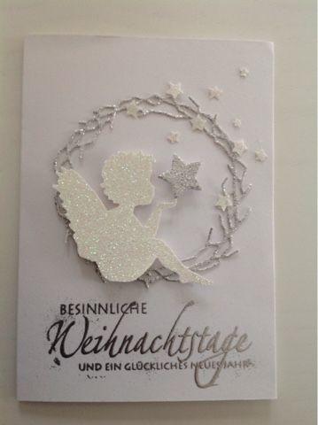 """Heute hab ich mal wieder ein paar Weihnachtskarten gewerkelt mit dem Stempel """"Weihnachtspotporri"""" von SU und der Engelstanze von Alexandra R..."""