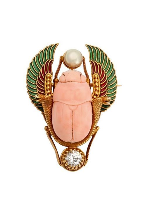 Egyptian Revival Scarab Brooch With Angel Skin Coral And Diamond - 19thC.