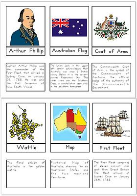 Australia Day 3-part Montessori cards by Our Worldwide Classroom