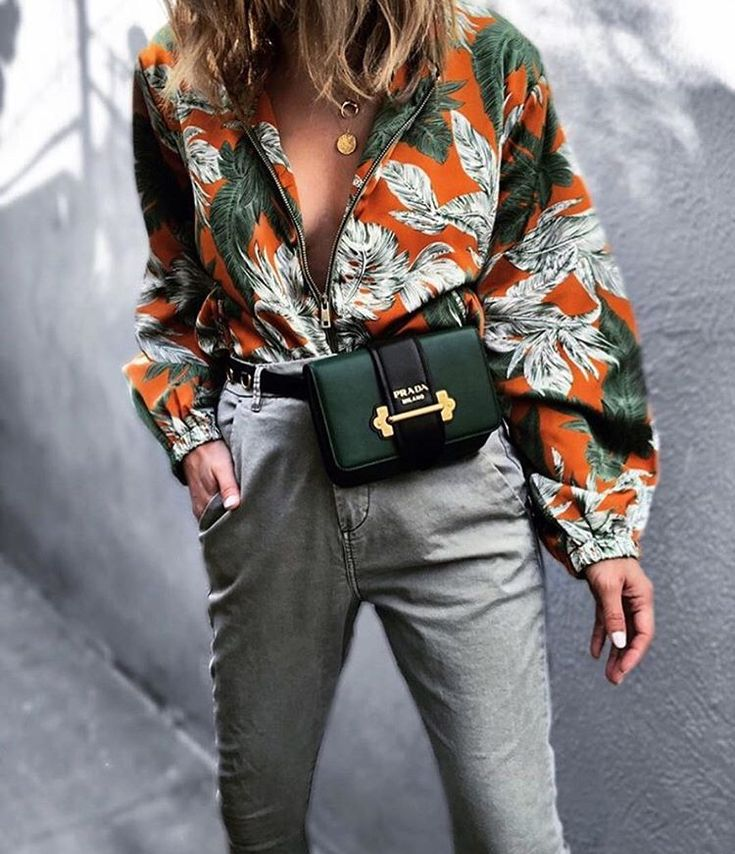 Autumn: Green and orange large flower print shirt + Khaki high waist trousers + Prada Cahier worn as bumbag/fanny pack