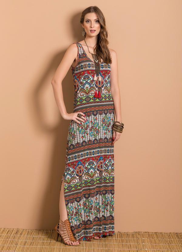 Vestido Longo (Étnico) com Fenda