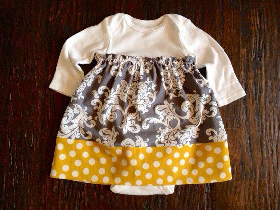 Gray Amp Mustard Yellow Onesie Dress For Baby Girls Size