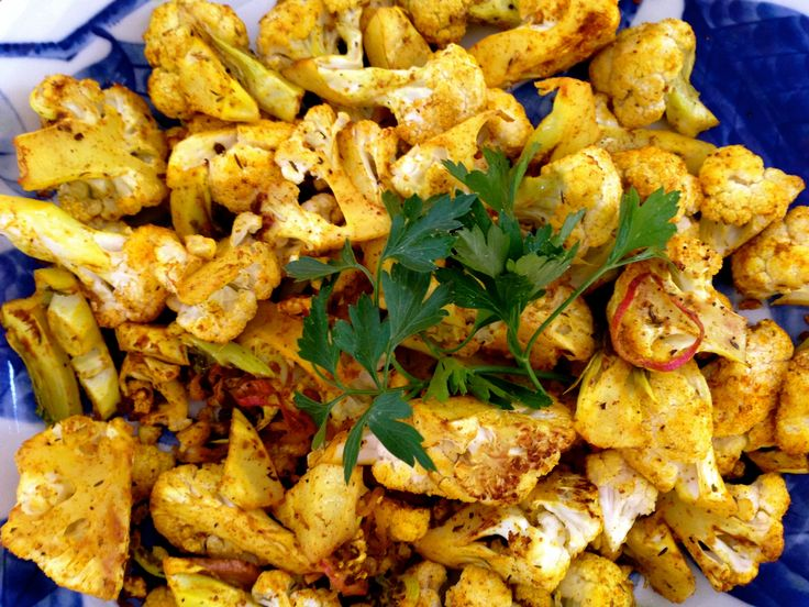 Roasted Cauliflower with Turmeric, Curry Spices, Shallots and Herbs. A great side ready in under 20 minutes!