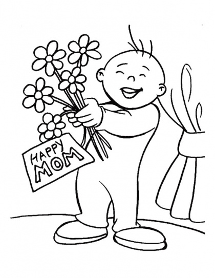 A funny way to greet mother on Mothers Day coloring page
