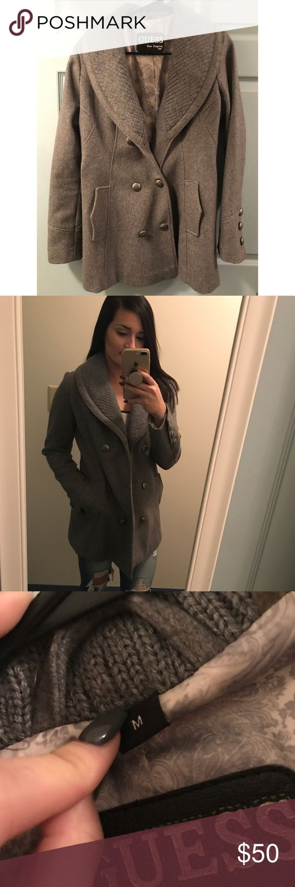 Guess Winter Pea Coat Gray mid length winter pea coat ...