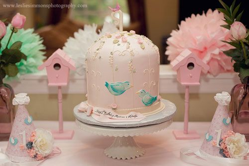Beautiful Pink Bird Themed First Birthday Party for Twin Girls