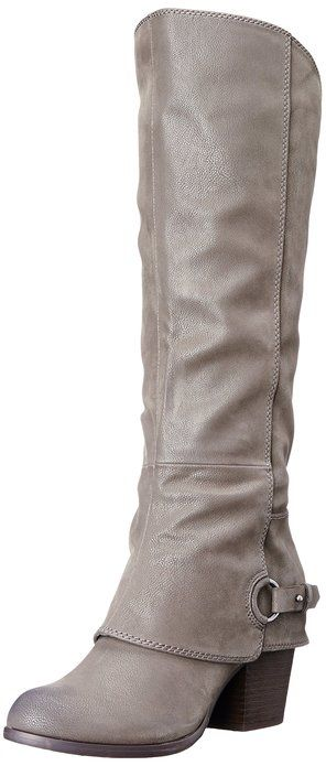 Fergalicious Grey Leather Winter Riding Boot Under $100 from Amazon Fashion