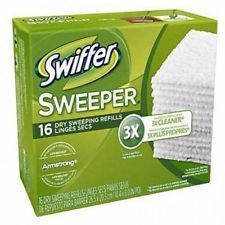 Swiffer Sweeper Refills Dry Cloths Pads Floor Cleaner System Duster 16 Pcs Box #cloths #pads #cleaner #home #women