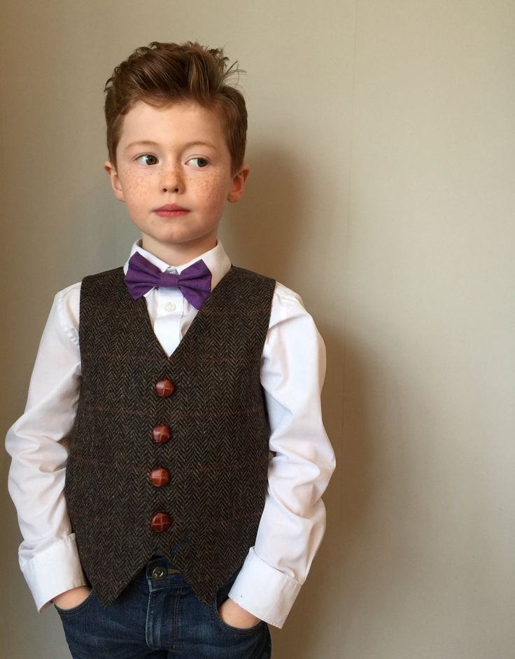 Boys waistcoat handmade in a brown herringbone tweed with over check by Fred's Finery's  'Newt' by littleladiesandlord on Etsy