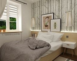 metamorfoza mieszkania 50 m2 w kamienicy - Mała sypialnia, styl skandynawski - zdjęcie od Grafika i Projekt architektura wnętrz