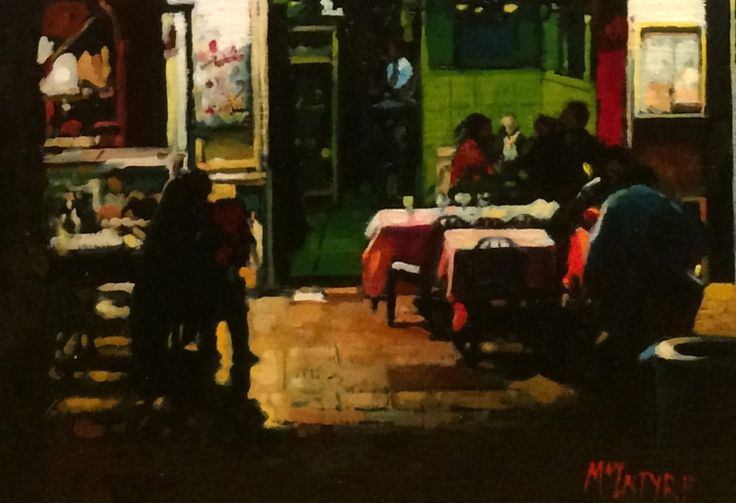 Joe McIntyre_Study for Figures in the Evening, The Pearl Cafe, Paris_Oils_8.5x12 l Scottish Contemporary Art