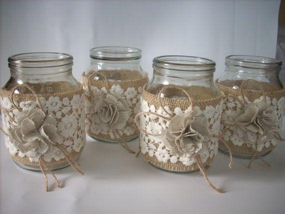 Rustico matrimonio della tela da imballaggio vaso, matrimonio rustico arredamento, vaso pizzo e tela di ragno, centrotavola di tela da imballaggio, arredamento country, vasetti di nozze