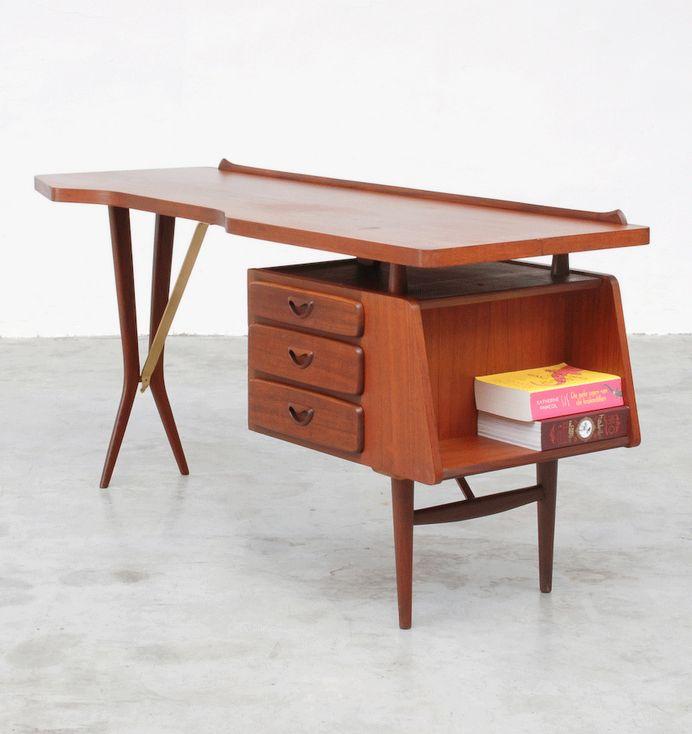 Louis van Teeffelen; Teak and Brass Desk for Webe, 1950s. Dream desk.
