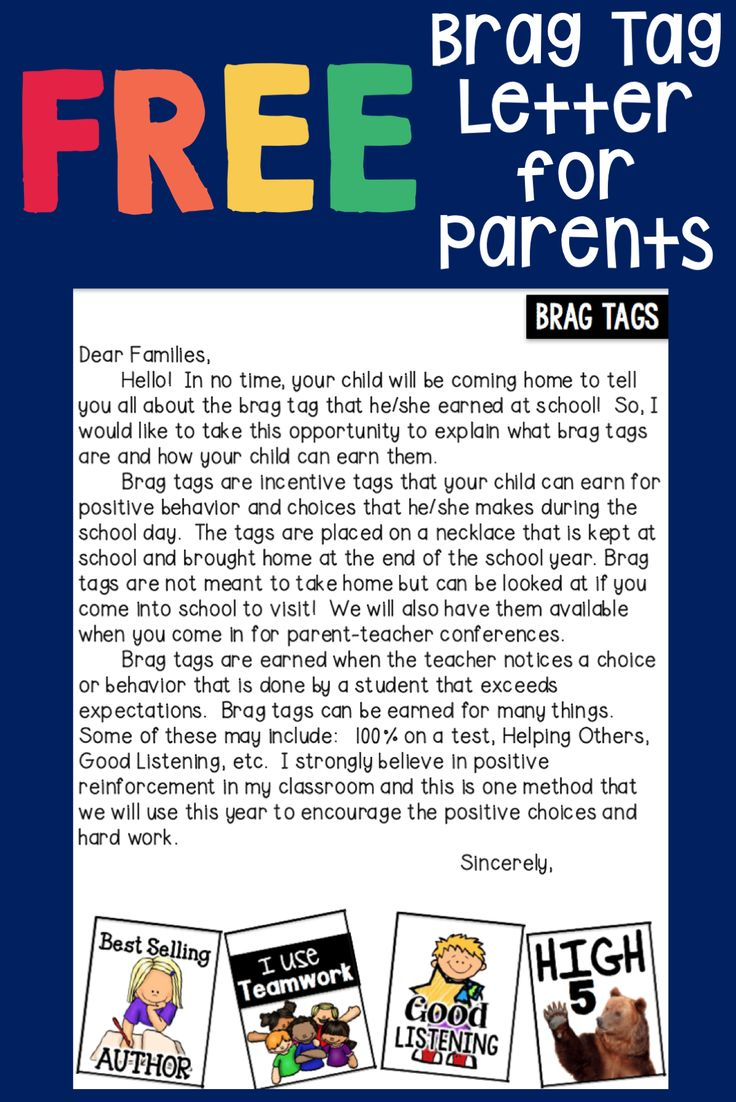 17 best ideas about letter to parents parent letter to parents explaining brag tags in the classroom