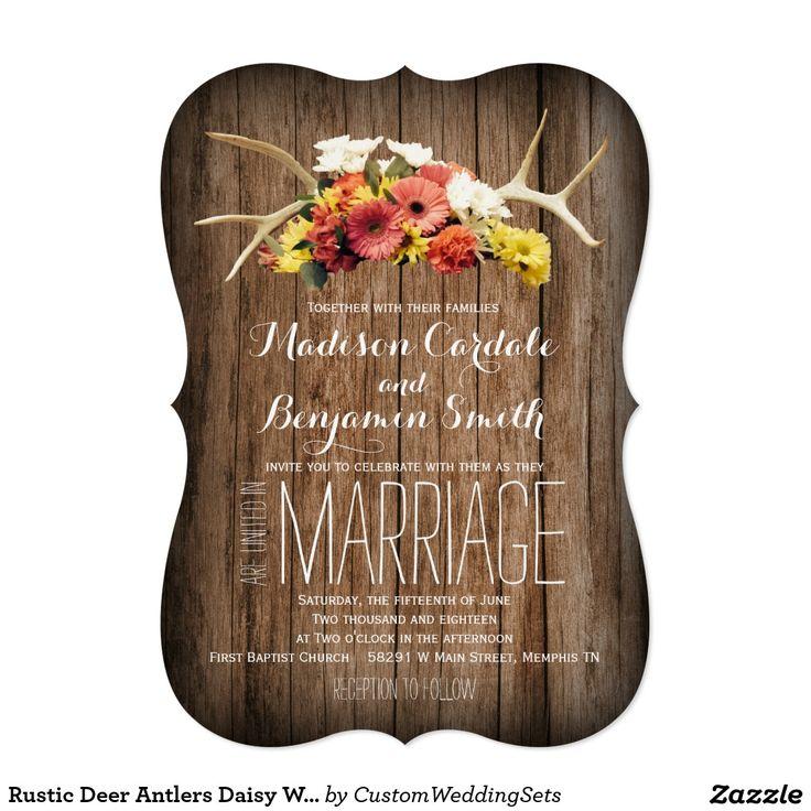 Rustic Deer Antlers Daisy Wood Wedding Invitations