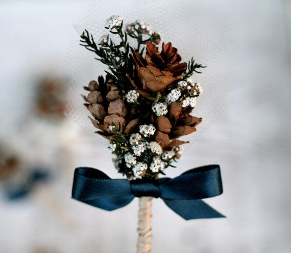 Woodland Pine Cone Handmade Boutonniere - Pinecones, Tulle, Raffia, Buttonflowers - Groom, Groomsmen, Corsage, Buttohhole - The Sunny Bee