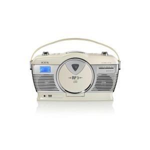 ices ISCD 33 Poste stéréo rétro lecteur CD MP3  - lecture de MP3 depuis une  clé USB, une carte SD ou un lecteur lecteur CD vertical reconnaissant le mP3 haut-parleurs stéréo … Voir la présentation