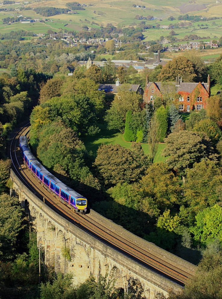 Train on the Saddleworth viaduct in the West Riding of Yorkshire.