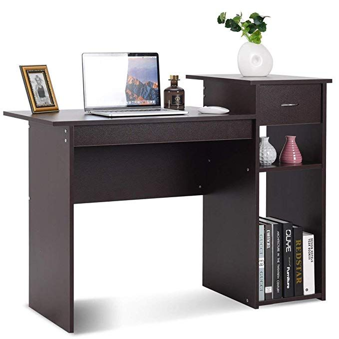 Tangkula Computer Desk Wooden Pc Laptop Home Office Modern Simple Style Wood Study Workstation Writing Table Wooden Furniture Set Espresso Review Home Office Furniture Pc Desk Furniture