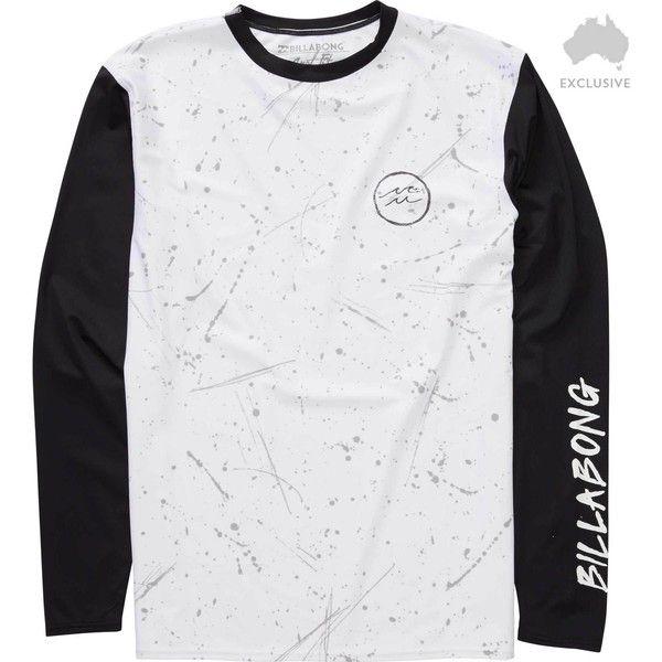 Billabong Unisex Splatter Long Sleeve Surf Tee ($23) ❤ liked on Polyvore featuring tops, t-shirts, men, white, slim t shirts, slim fit t shirts, long sleeve t shirts, white tee and white t shirt