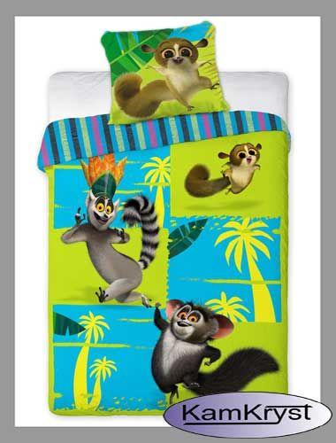 Pościel z Królem Julianem, Mortem i Morisem - zabawnymi lemurami popularnymi z bajki Pingwiny z Madagaskaru - pościel już dostępne na stronach sklepu KamKryst.