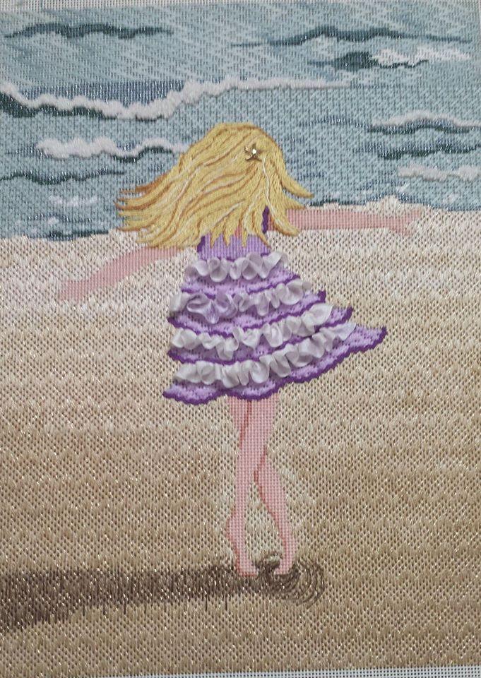 needlepoint dancer on the beach, designer unknown