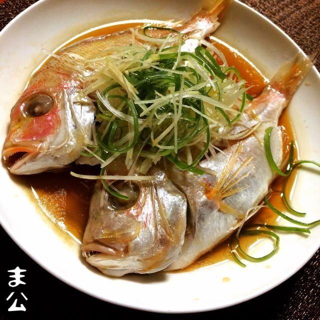清蒸鮮魚風に、黄鯛を紹興酒にて蒸しました。油をジューッで葱も美味しい❤︎ - 97件のもぐもぐ - 黄鯛の紹興酒蒸し 清蒸鮮魚 風に by makooo