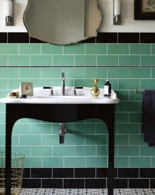 these tiles for the shower end wall only single row of black tiles not double