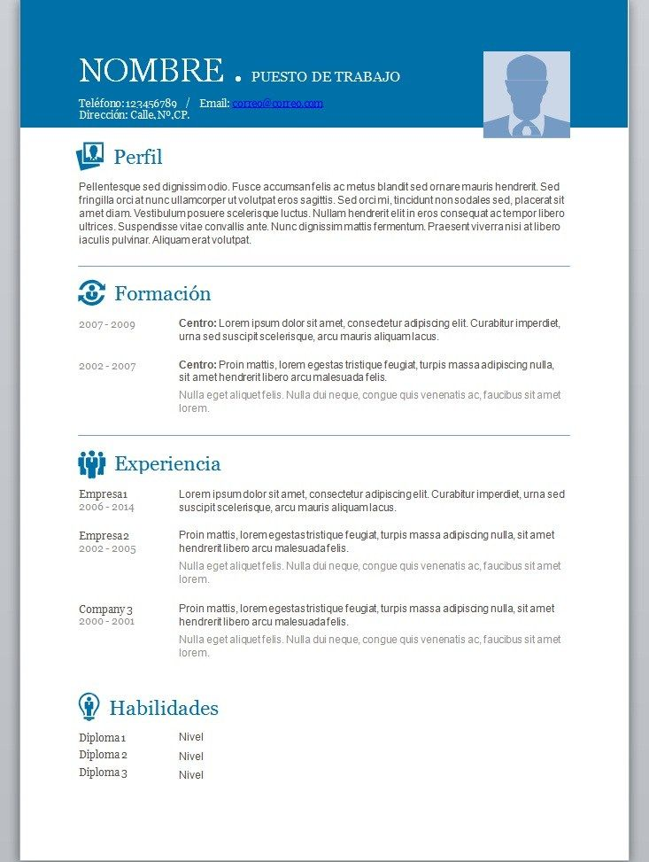 Curriculum Para Completar Cv Curriculum Modelos De Curriculum