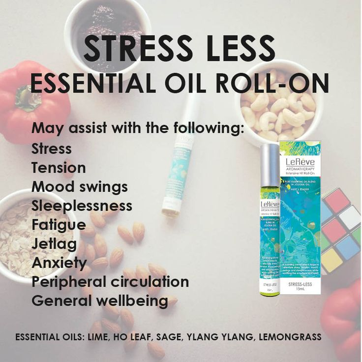 Stress Less Essential Oil Roll-On may assist with: stress, tension, mood swings, sleeplessness, fatigue, jet lag, anxiety, peripheral circulation and more. Stress and nutrition have proven to be strongly linked. Reach for the stress relief super foods and a 100% natural Stress Less Essential Oil Roll-On next time you're stressed instead of the candy or chips and you'll be on your way to de-stressing faster.