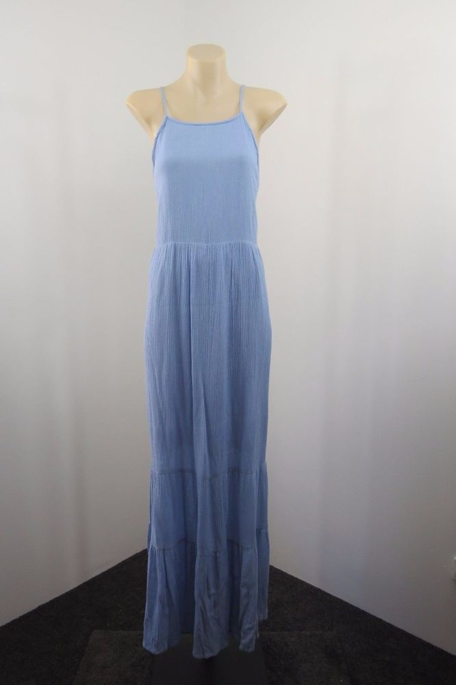 NWT Size M 12 Ladies Maxi Dress Peasant Casual Boho Chic Vintage Crinkle Design #CarolineMorgan #Maxi #SummerBeach