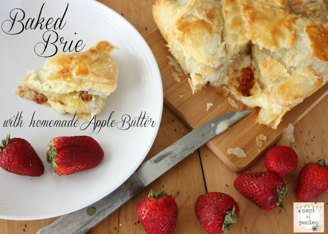 Baked Brie with homemade Apple Butter via @Kellie