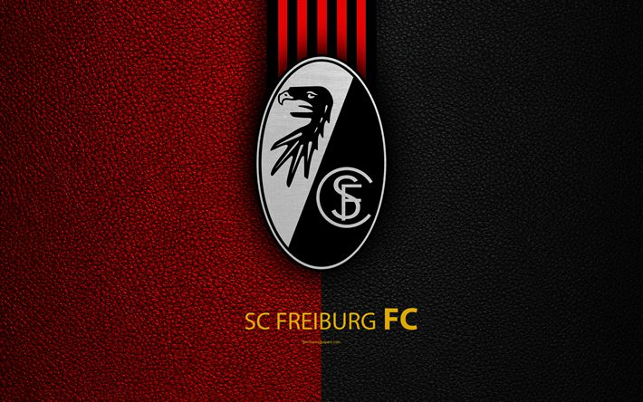 Download wallpapers SC Freiburg FC, 4k, German football club, Bundesliga, leather texture, emblem, logo, Freiburg im Breisgau, Germany, German Football Championships