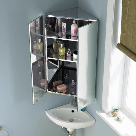Image Gallery For Website mmxmm Liberty Stainless Steel Double Door Corner Mirror Cabinet