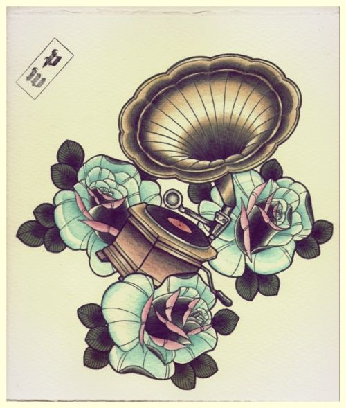gramaphone tattoo, vintage, pretty colours, mint, music tattoo, ink, design, illustration, traditional roses.  Vinyl record artwork love