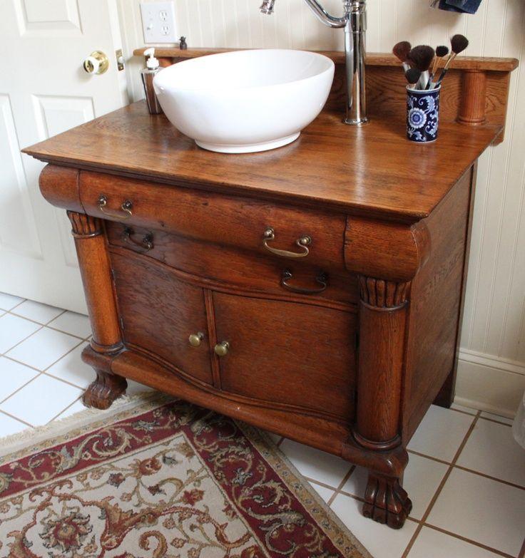 vessel sink on antique wash stand