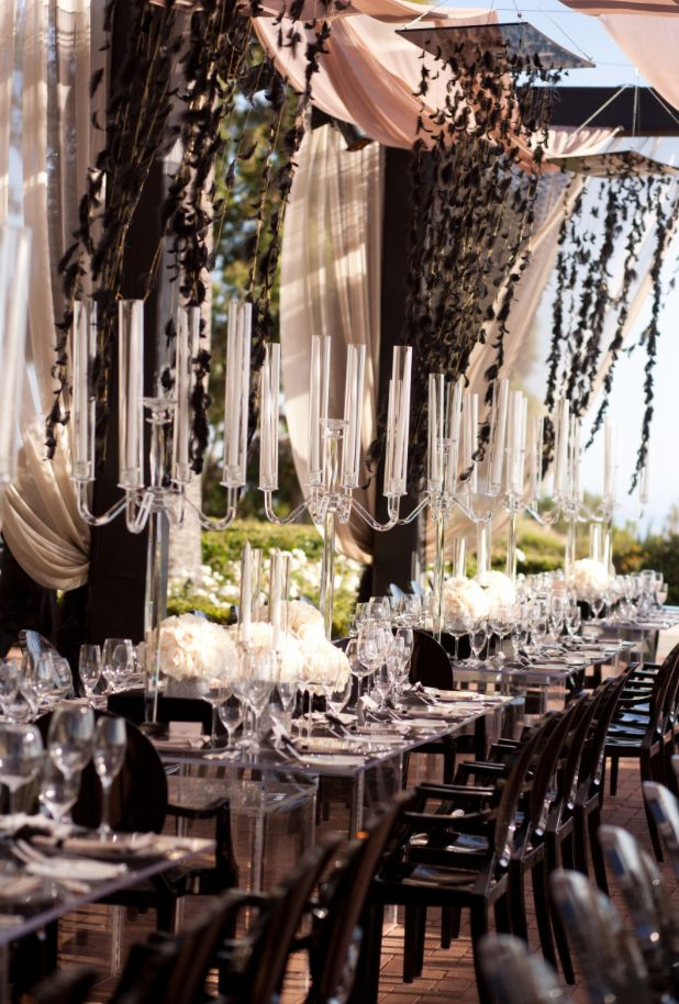 Outdoor wedding reception idea; Event Design: White Lilac Inc.