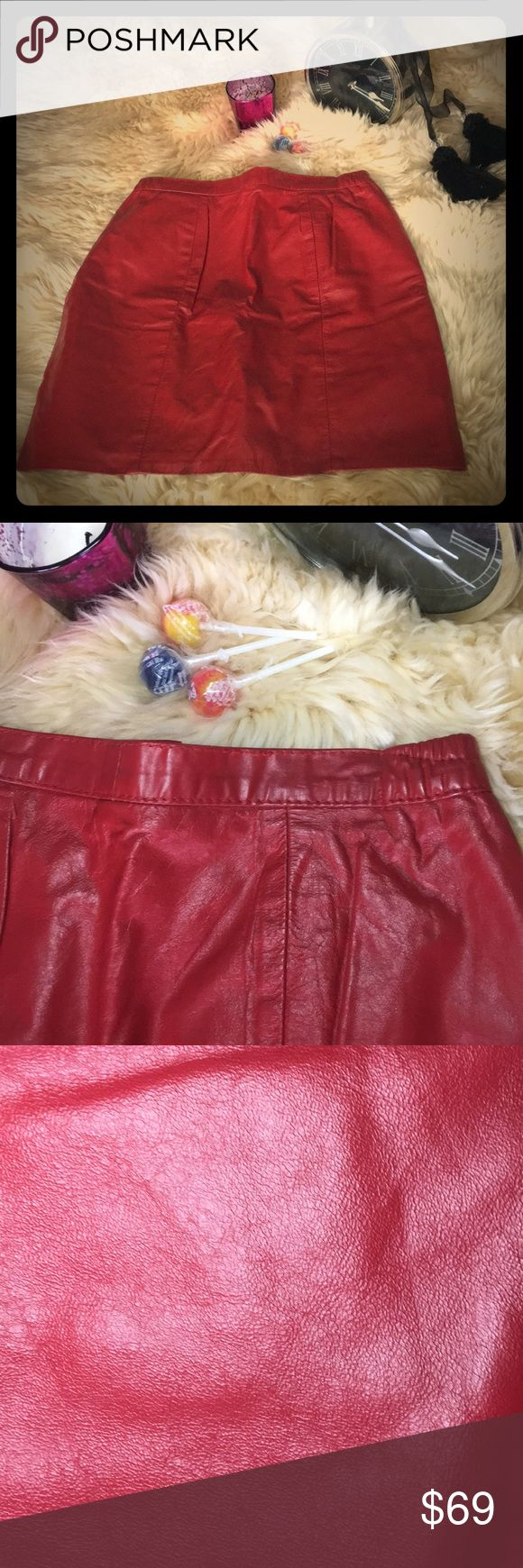 Genuine Leather Skirt, Red Show stopper. Vintage, yet ALWAYS modern.  Mid thigh red skirt will be sure to turn heads!  Wear with canvas shoes or dress it with heels.  Flawless! L & U Fashion Skirts Mini