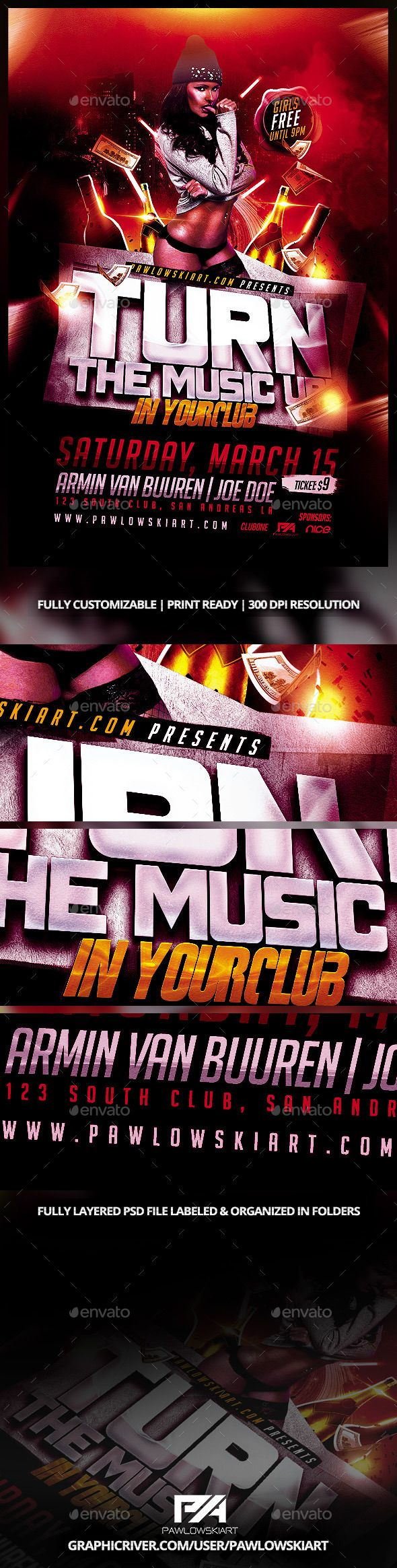 Turn The Music Up Party Flyer Template - Clubs & Parties Events