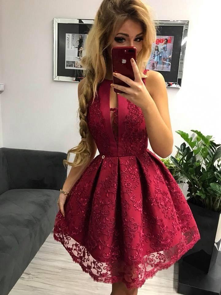 Sukienka Koronkowa Bordowa Bombka Wesele Kontra Fałdy Sukienka Na