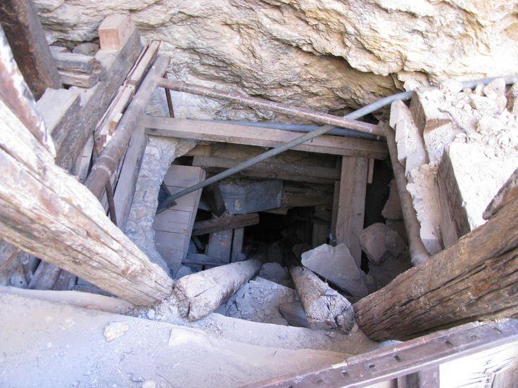 Abandoned mine shaft.  An inclined shaft X
