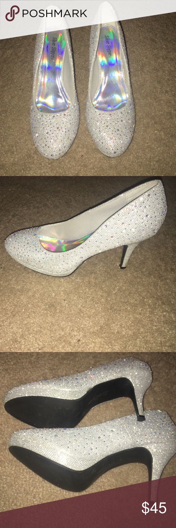 Sparkly shoes Silver sparkly high heels. Been worn twice, in good condition. Shoes Heels