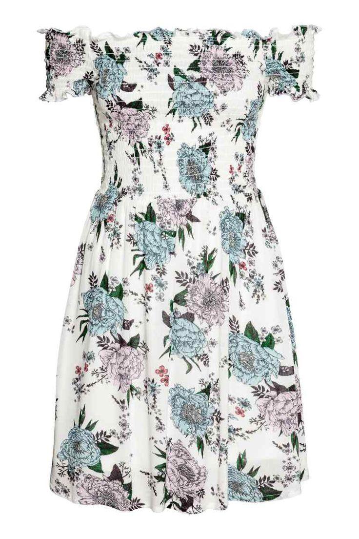 Sukienka z marszczeniem - Biały/Kwiaty - ONA | H&M PL