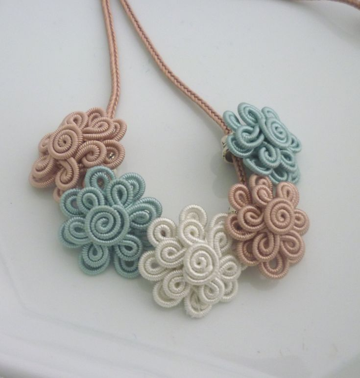 Moroccan soutache flower necklace duck egg blue pale by sewsouk