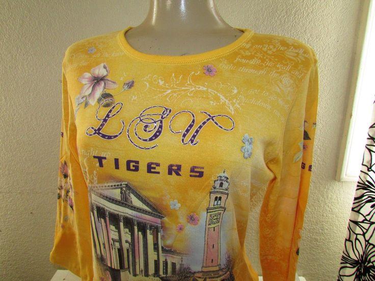 Top Tee Shirt Tigers Lsu University Football Campus W/Rhinestones Medium